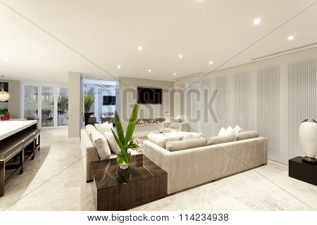 Spacious Living Room With Grey Sofas