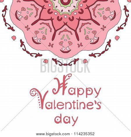 Happy valentines day card with pink mandala and hand lettering