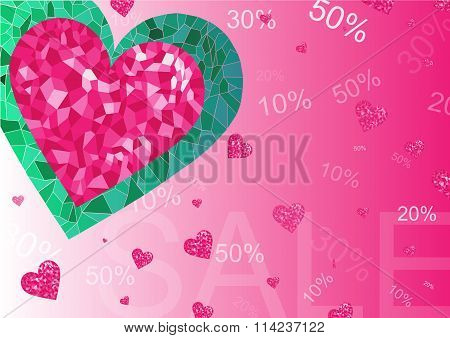 Sale Poster. Diamond Heart Shape With Word Sale ,stars