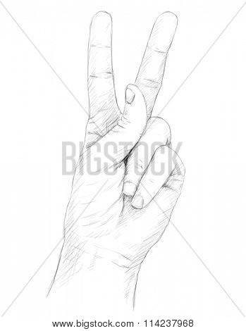 Pencil sketch of Hand with victory sign
