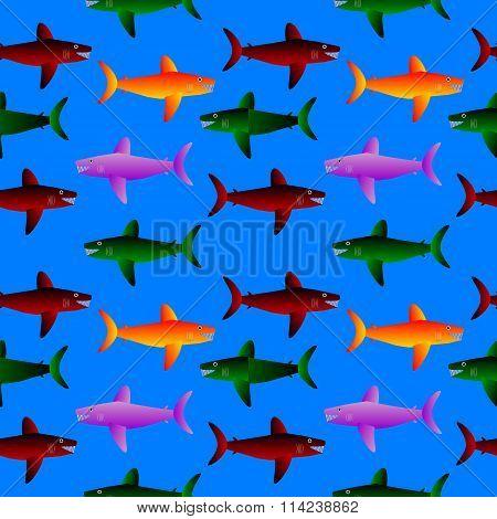 Shark Seamless Pattern.