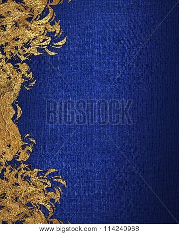 Blue Background With Gold Flowers. Element For Design. Template For Design. Copy Space For Ad Brochu