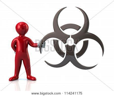 Red Man Character Holding Biohazard Symbol