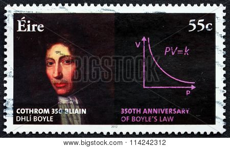 IRELAND - CIRCA 2012: a stamp printed in Ireland shows Robert Boyle, Anglo-Irish Natural Philosopher, 350th Anniversary of Boyle's Law, circa 2012Anniversary of Boyle