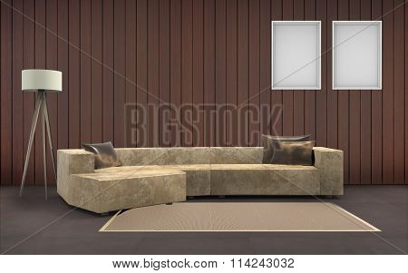 living room Minimal Desing and two picture frame