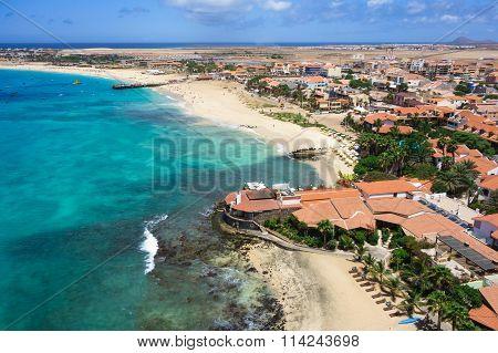 Aerial View Of Santa Maria Beach In Sal Island Cape Verde - Cabo Verde