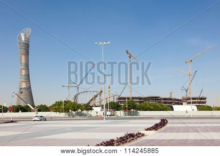 The Aspire Tower And Khalifa Stadium In Doha, Qatar
