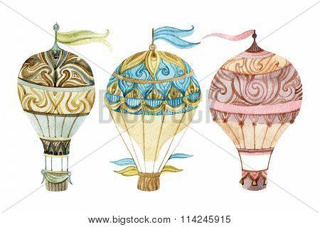 Aerostat Set. Watercolor Hot Air Balloon Set.