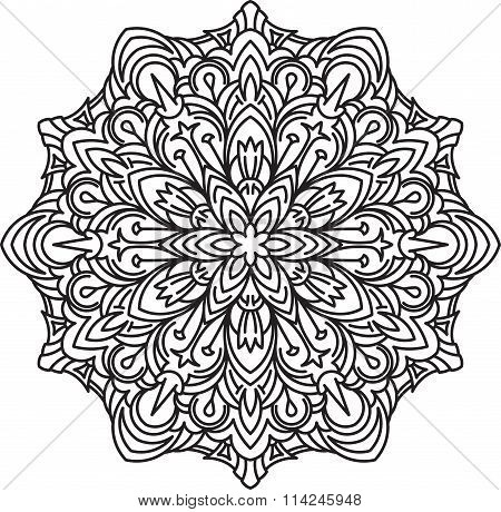 Round Asymmetrical Decorative Element - Lace Mandala In Zentangle Style. Stylized Vector Flower For