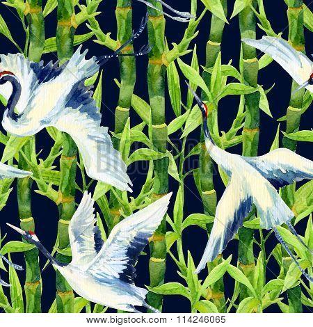 Watercolor Asian Crane Bird Seamless Pattern