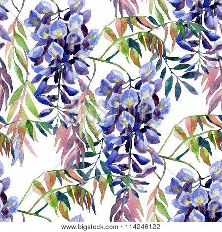 Wisteria Flower. Watercolor Wisteria Seamless Pattern.