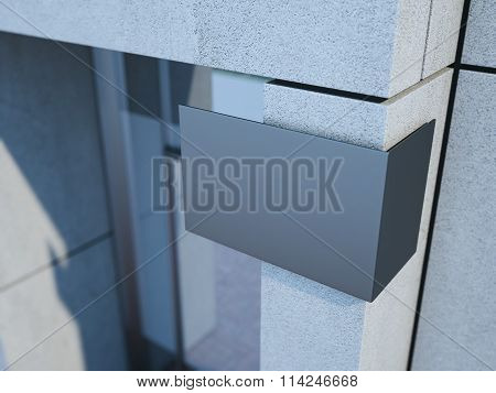 Modern signboard on the office building. 3d rendering