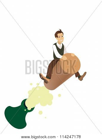 funny concept - a man flying on the cork, businessman is celebrating