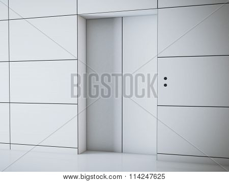 Modern white hall with elevator. 3d rendering