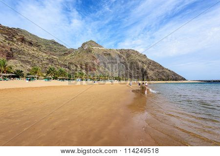 A view of Teresitas Beach in Tenerife, Canary Islands, Spain.