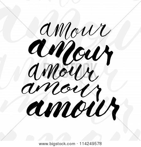 Five variations writing of Amour word.