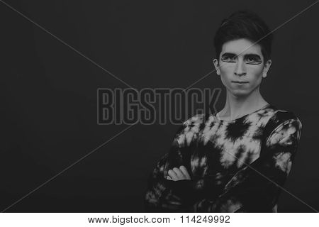 Professional game young actor. Black and white photo on a dark background