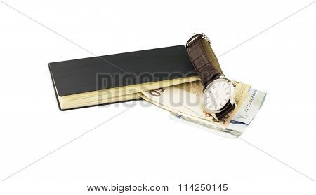 The Euro, Notebook And Wristwatch