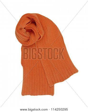 orange wool scarf isolated on white background
