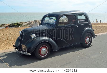 Classic Black  motorcar on Felixstowe seafront.