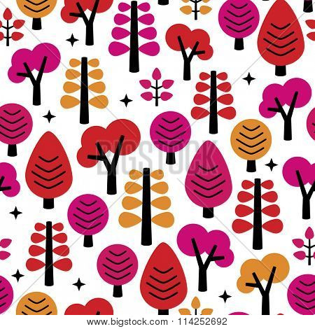 Seamless hot red colorful girls woodland forest trees illustration background pattern in vector