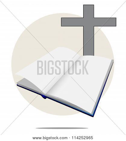 Illustration Of White Bible With Cross