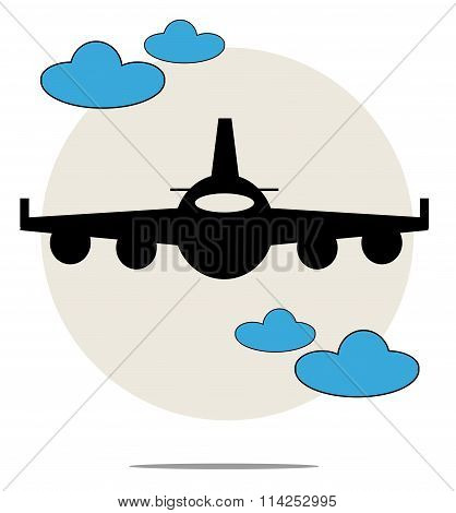 Illustration Of Black Airplane With Blue Clouds