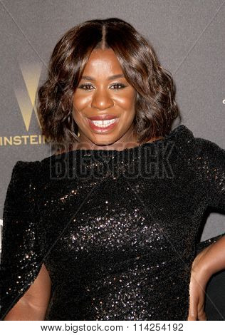 BEVERLY HILLS, CA - JAN. 10: Uzo Aduba arrives at the Weinstein Company and Netflix 2016 Golden Globes After Party on Sunday, January 10, 2016 at the Beverly Hilton Hotel in Beverly Hills, CA.