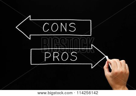 Pros Cons Arrows Blackboard
