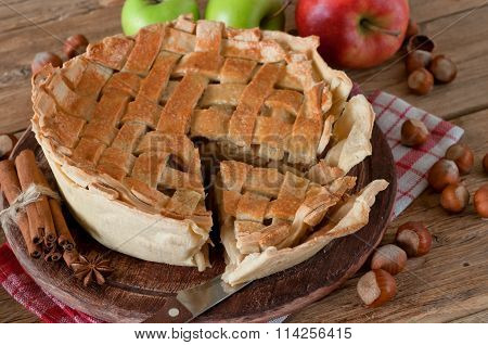 Apple Pie Closeup On A Table