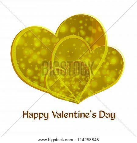 Happy Valentine's Day. Three Yellow Heart