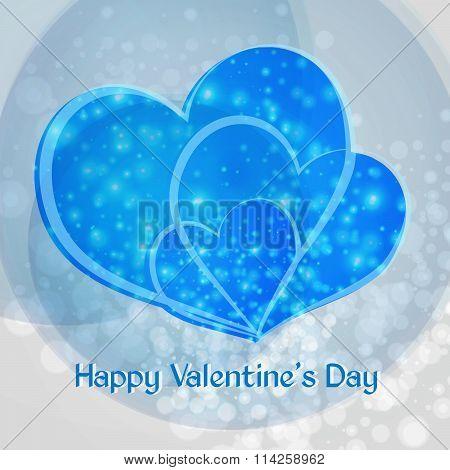Happy Valentine's Day. Three Blue Heart