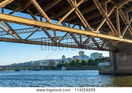 Downtown Portland Under Bridge