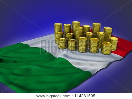 Italian economy concept with national flag and golden coins