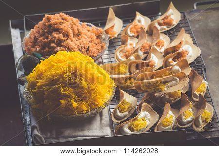 Thai Food. Spicy Food At Damnoen Saduak Floating Market Near Bangkok, Thailand