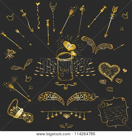 Cute golden vector hand-drown hipster set of love elements - wings, arrows, frames for your design