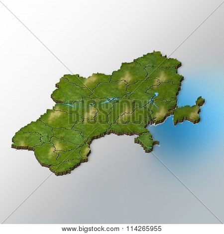 Isometric Map Of Ukraine With Regions And Rivers