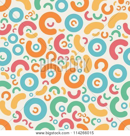 Vector Seamless Blue Pink Orange Green Color Jumble Rounded Geometric  Shapes  Retro Pattern