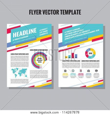 Flyer vector template with infographic, icons and world map. Brochure vector template.