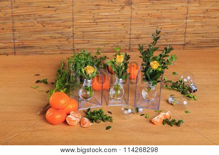 Ripe, juicy tangerines in a beautiful table.