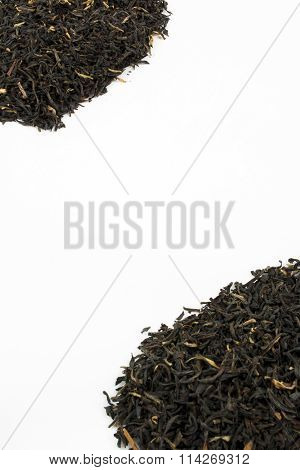 Two Piles Of Loose Leaf Black Tea With Copy Space