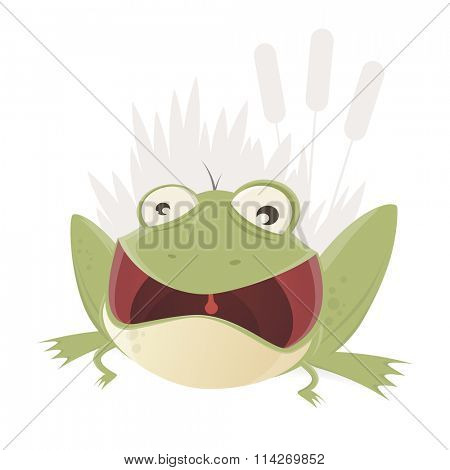 croaking cartoon frog with mouth wide open