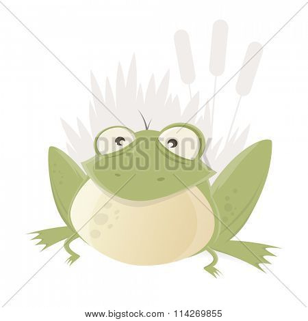 funny cartoon frog with reed in background