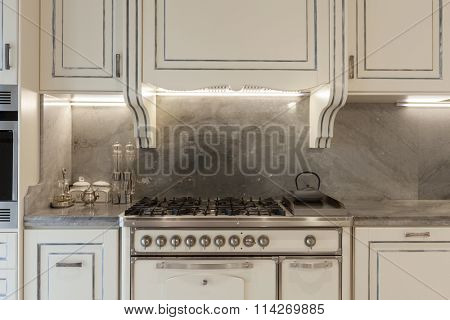 Architecture; domestic kitchen in classic style, front view
