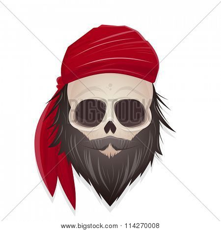 creepy pirate skull illustration