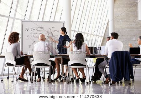 Pregnant Businesswoman Leads Boardroom Meeting