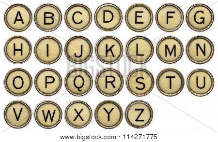 full in English alphabet  in old round typewriter keys isolated on white