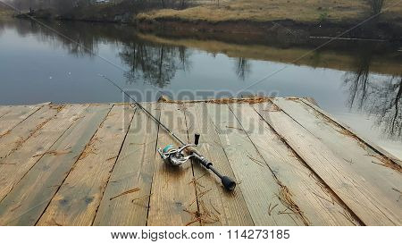 Fish on the river bank. Catched a fish. Fishing, spinning reel, fish, Breg rivers.