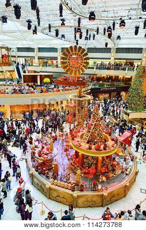 HONG KONG - DECEMBER 25, 2015: interior of the Landmark shopping mall. The Landmark, also known as