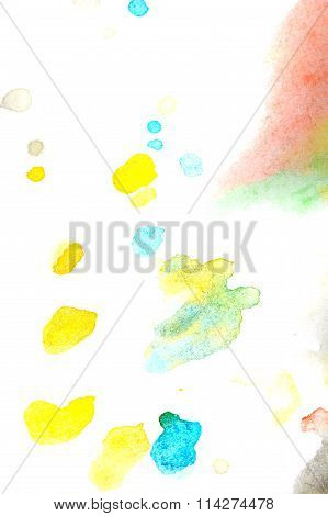 Yellow, Turquoise, Red Spot Watercolor Paint. Abstraction.